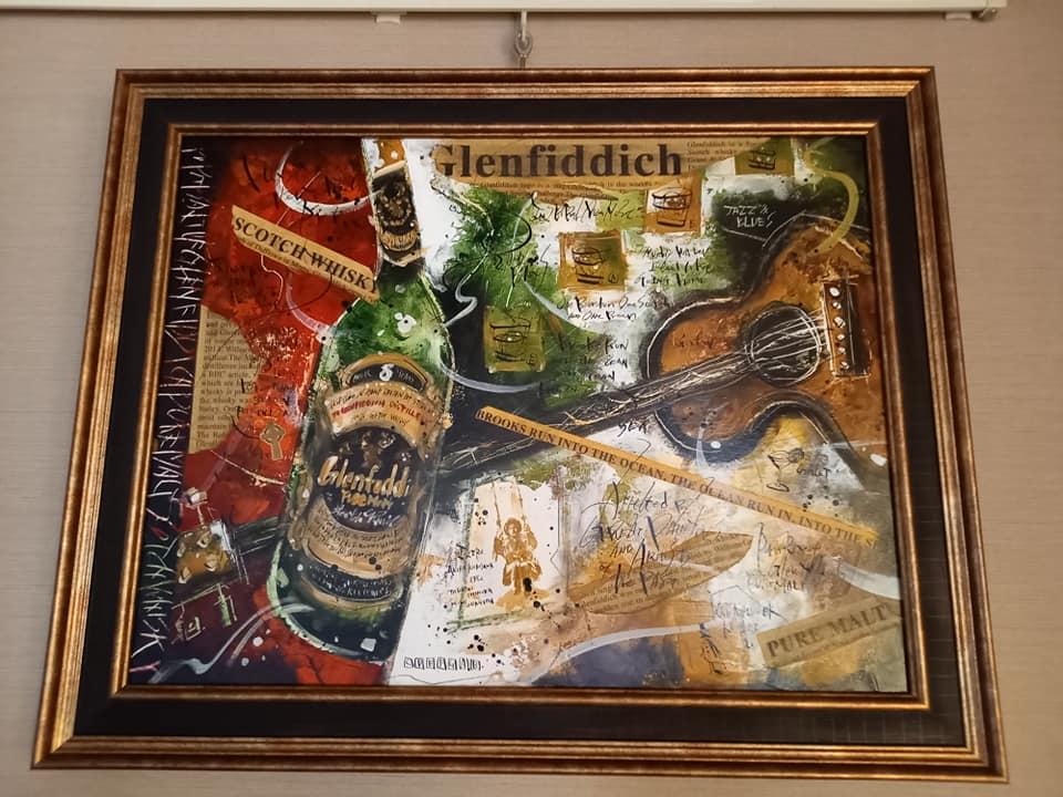 一生モノの絵画『Glenfiddich&Blues』(川口紘平画伯)を居間に飾りました~(^_-)-☆