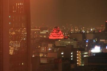 赤く妖しく浮き上がる大阪城